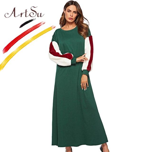 b6e29969879b ArtSu Women Winter Cotton Green Long Dress Patchwork Faux Fur Long Sleeve  Striped Dress Elegant 2018 Christmas Dress Robe Femme