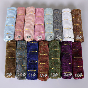 Image 4 - Beautiful! Magic filament Sequin Muslim Women Hijabs Shimmer Shawl Hijabs Wrinkles Islamic Wedding Veil Scarves Head Cover