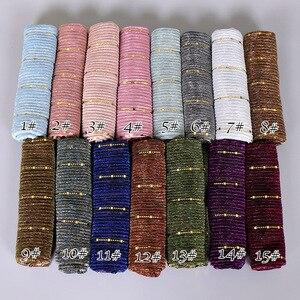 Image 4 - สวย! Magic Filamentเลื่อมผู้หญิงมุสลิมHijabs Shimmer Shawl Hijabsริ้วรอยอิสลามผ้าคลุมไหล่ผ้าพันคอหัว