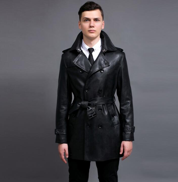 2019 spring autumn new designer mens faux leather   trench   coats man long coat men clothes slim fit overcoat long sleeve fashion