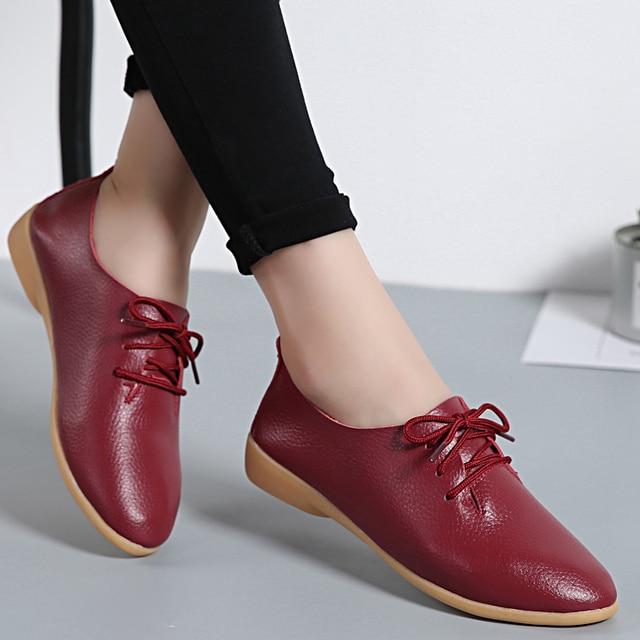 Cuero genuino sólido zapatos mujeres Flats verano mocasines zapatos Casual cómodo bailarina encaje hasta mocasines tamaño 35-44