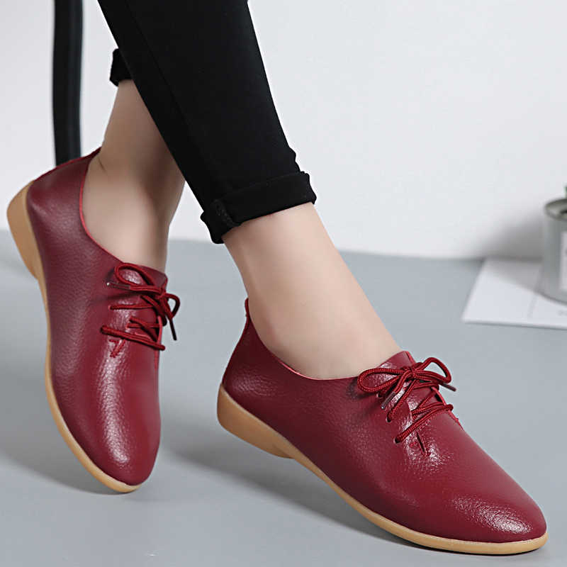 Genuine Leather shoes Solid Women Flats