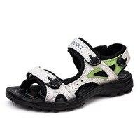 2017 New Summer Women Genuine Leather Sandals Slides Female Sandals Flat Sandals Comfortable Ladies Sandalias Sport
