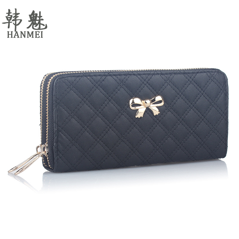 2017 Double Zip Clutch Fashion Women Leather Wallet Purse Coin Card Bag Bowknot Plaid Long WalletsTop Quality Free Shipping N526