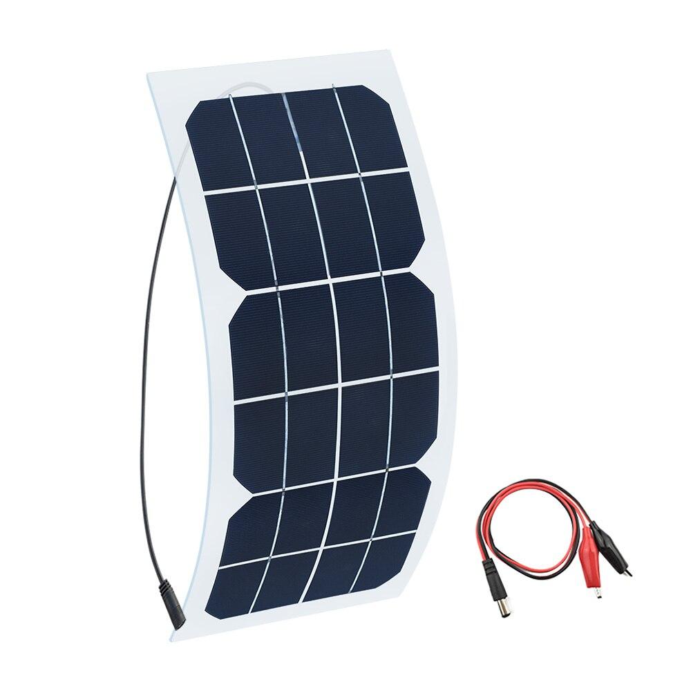 Flessibile 5 V 6 V 10 W solare portatile Caricatore del pannello Auto Automobile Moto Barca pannelli di celle solari DC Coccodrillo clip di Connettore