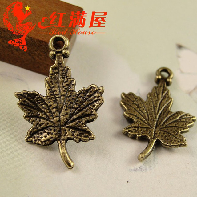 15*23MM Antique bronze Retro Canadian maple charms pendants, DIY jewelry accessories wholesale ZAKKA canada charm souvenir gift