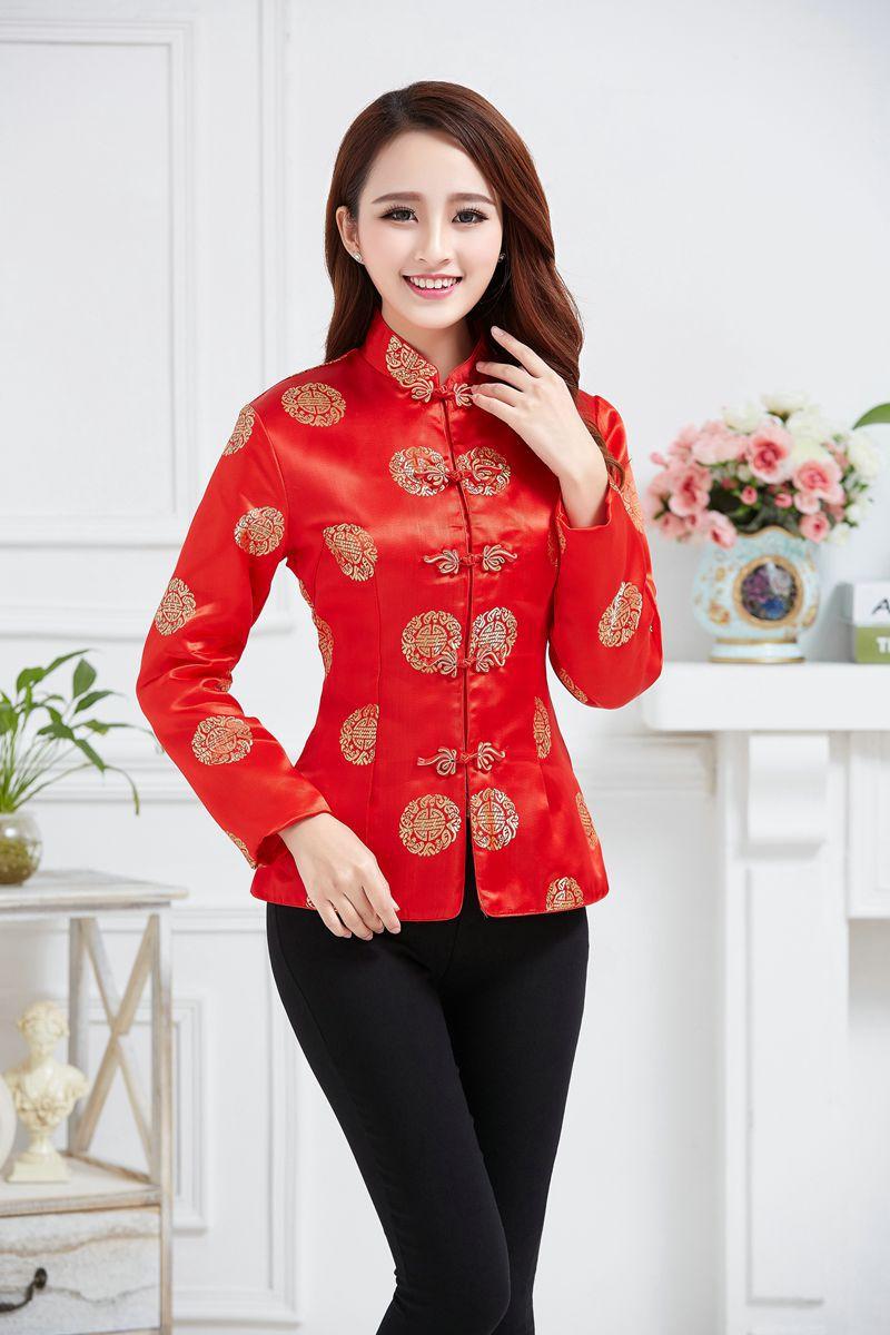 Kinesisk Traditionell Röd Kapp Kvinnors Silke Satin Jacka Bröllop - Nationella kläder - Foto 2