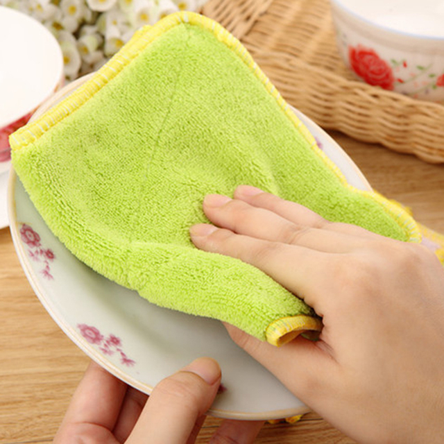 US $1.28 42% OFF|Double Sided Microfiber Dish towels Thickening Cloth Dish  Nonstick Oil Absorbent Kitchen Towels-in Cleaning Cloths from Home & Garden  ...