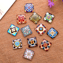 50Pcs Mixed Square Glass Cabochons Cameos Dome Seals Embellishments Crafts Making 15x15mm