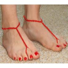 Vintage Bracelet Foot Jewelry Pulseras Retro Anklet Yellow Red for Women Foot Jewelry Barefoot Sandals Ankle Leg Chain