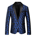 Alta Calidad Mens Azul Impreso Patrón Cabidas Delgadas Blazer Blazers Hombres Un Botón Traje Chaqueta Trajes de la Etapa de Baile Cantantes