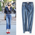 2017 Women Flare Jeans Vintage Style Irregular Tassels Bottom Skinny Jeans Female blue Wide Leg Denim Pants ankle length ripped