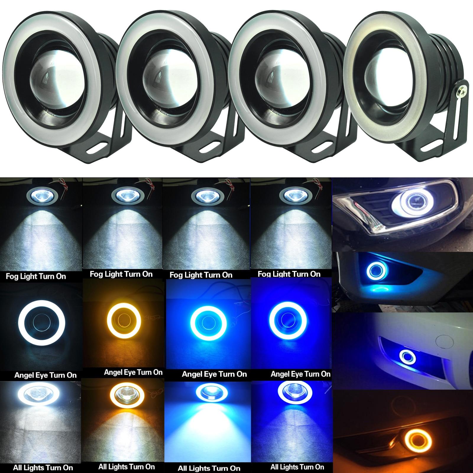 Do Promotion! 1pair 3.5inch Car COB LED Fog Driving Light Projector Tube Halo Angel Eyes DRL Bulbs 88