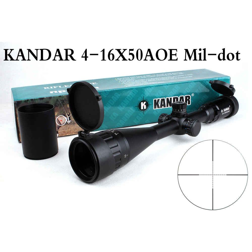 Tactical Optical Sight KANDAR 4-16x50 AOE Mil-dot Reticle RifleScope Locking/Resetting Hunting Rifle Scope