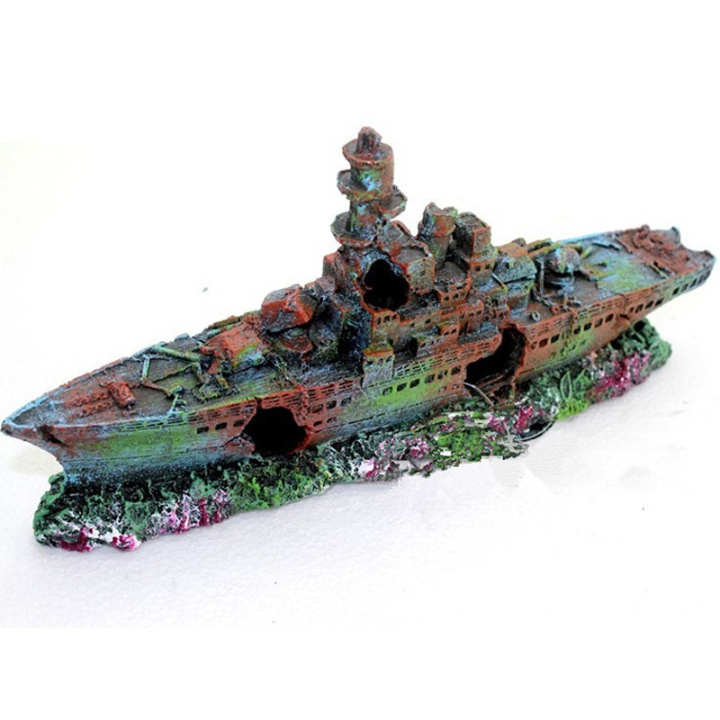 Resin Damaged Navy War Boat Ship Wreck Fish Tank Ornament Cave Aquarium Decoration Landscape la palmyre zoo