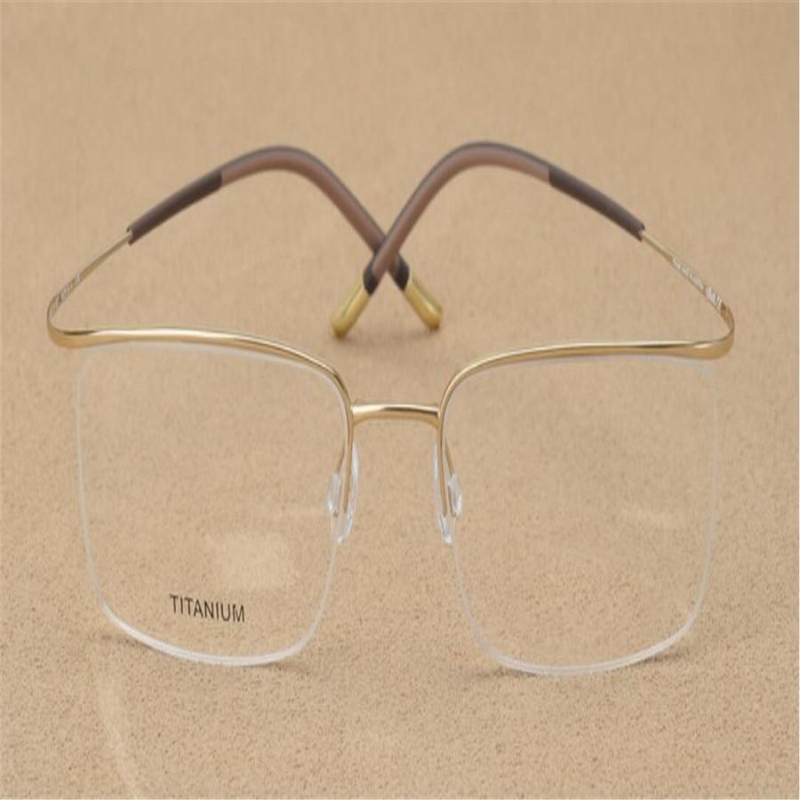 Men's Glasses Mongoten Branded Business Men Fashion Pure Titanium Half Rim Myopia Eyewear Ultralight Gold Silver Optical Goggle Eyeglasses Attractive Appearance Apparel Accessories