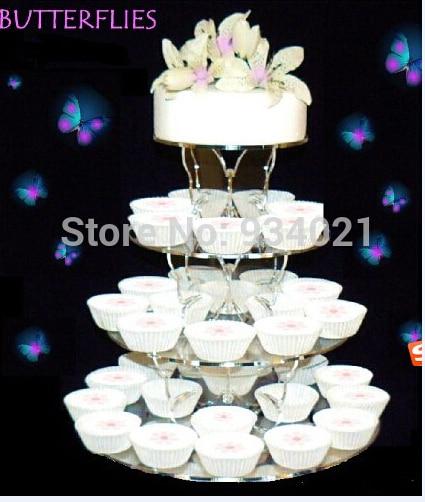 4 szintű kör, tiszta Cupcake Cupcake állvány, akril pillangó - Konyha, étkező és bár