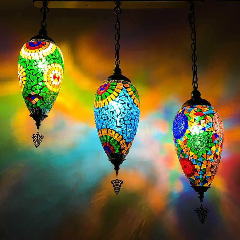 Этнические серьги-капельки подвесной светильник светодиодный витраж средиземноморская кухня бар вход коридор балкон подвесные лампы