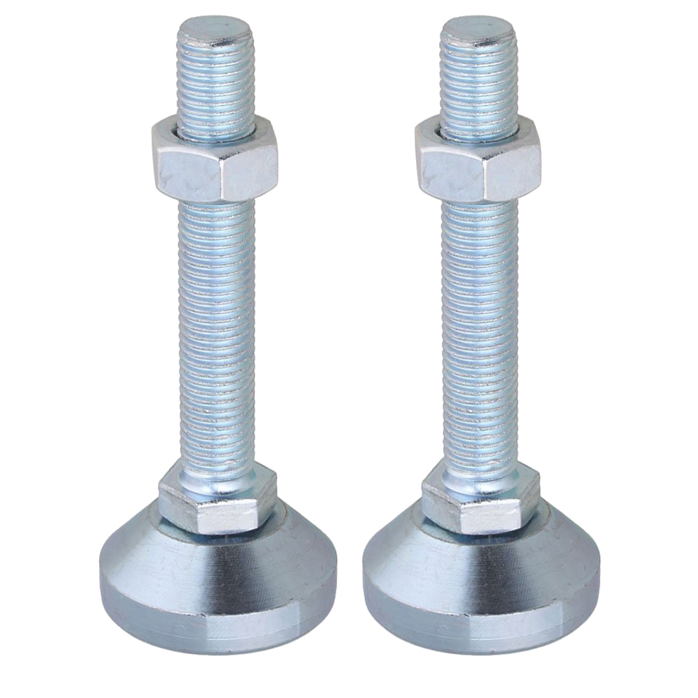 2pcs 50mm Dia M16x100mm Thread Carbon Steel Fixed Adjustable Feet For Machine Furniture Feet Pad Max Load 1.5Ton