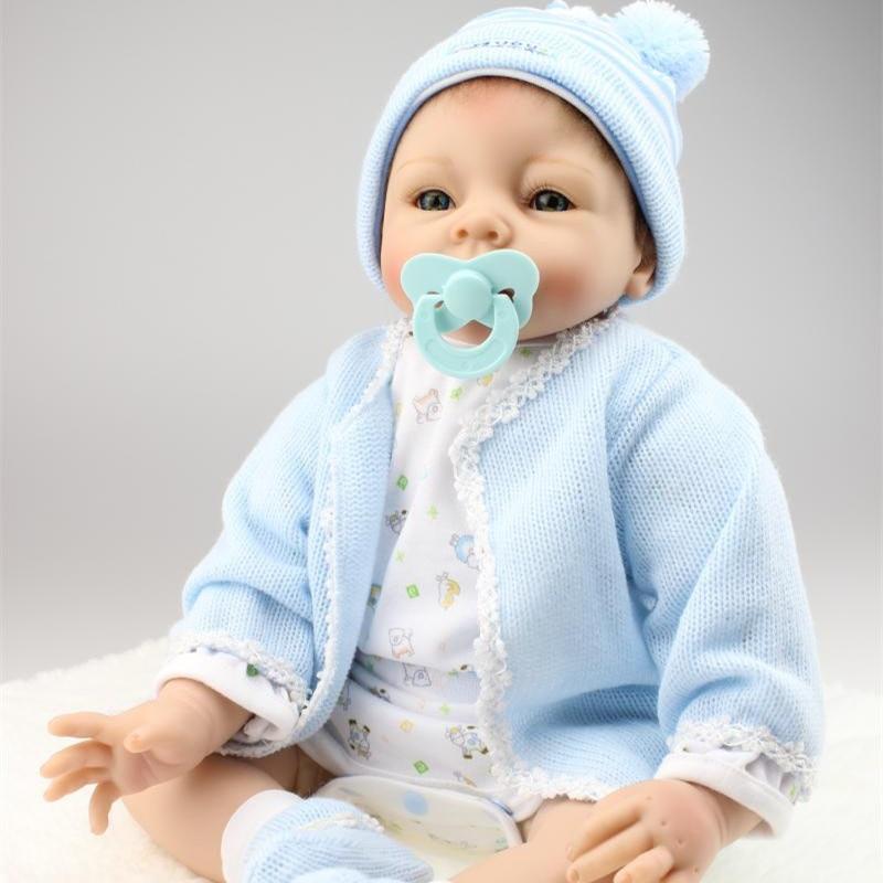 Buy 50cm Soft Silicone Reborn Baby Dolls 50- 55 cm Realistic Reborn Baby Boy Dolls Kids Sleep Accompany Partners Newborn Dolls