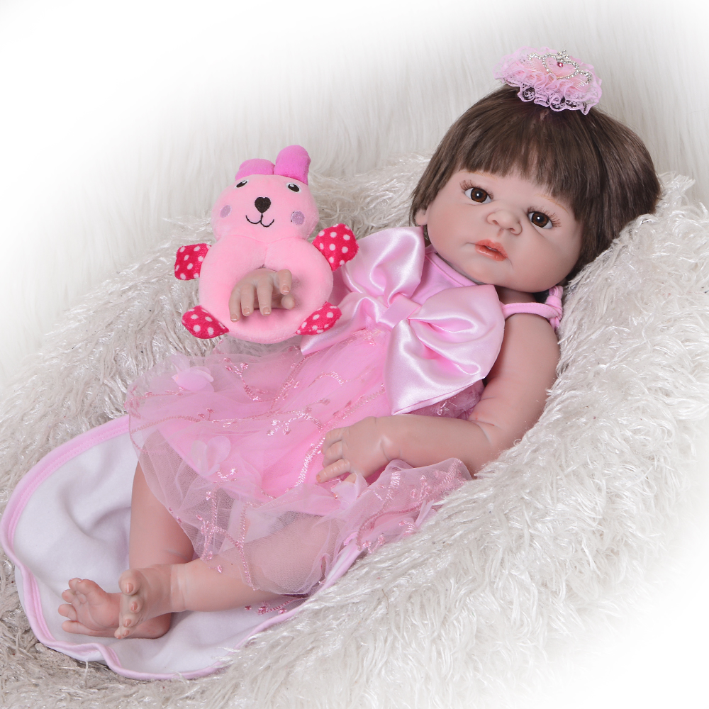 Fashion 23 Realistic Reborn Doll Silicone Full Body Lifelike Girl Babies Doll Wear Princess Dress Baby Toys For Kids Xmas GiftFashion 23 Realistic Reborn Doll Silicone Full Body Lifelike Girl Babies Doll Wear Princess Dress Baby Toys For Kids Xmas Gift