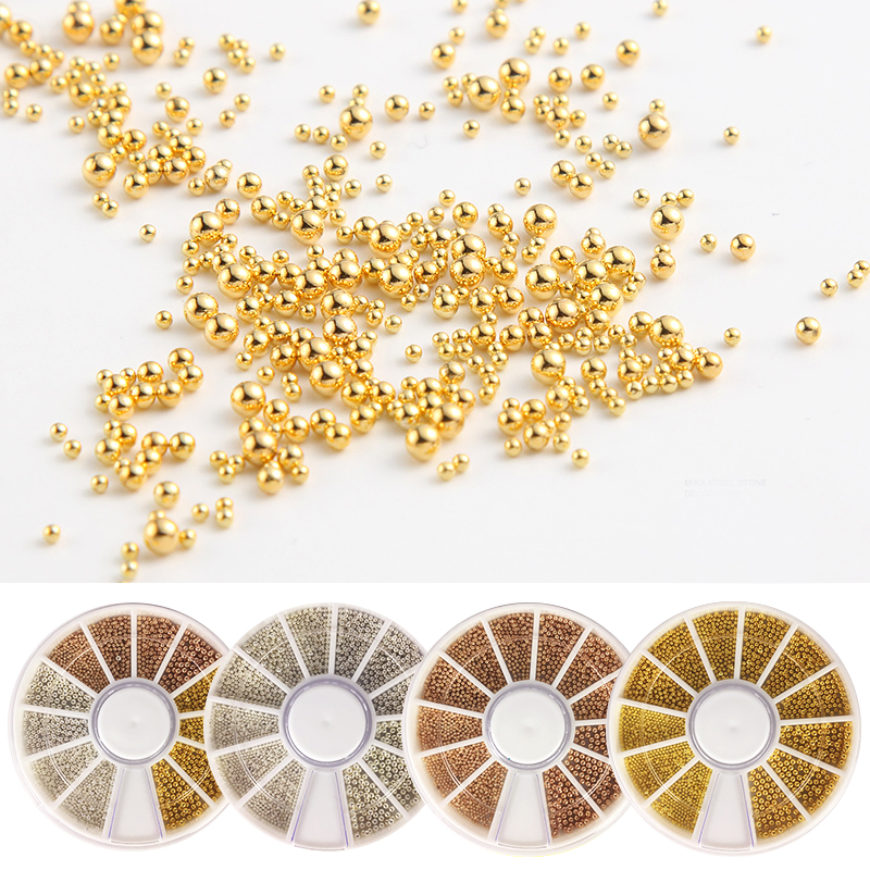 1 Wheel 0 8mm 1 0mm 1 2mm 1 5mm Steel Beads Nail Studs Rose Gold Sliver Gold 3D Nail Art Decorations Manicure DIY Caviar Beads in Rhinestones Decorations from Beauty Health