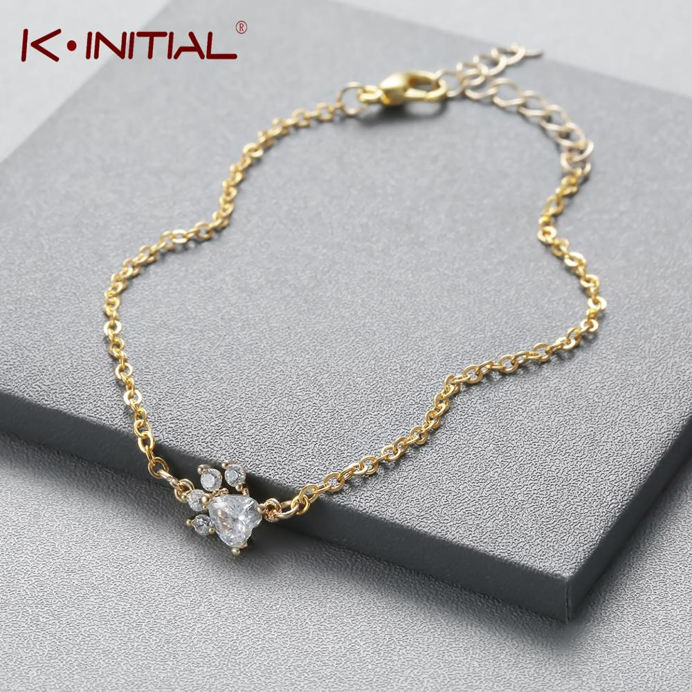 Kinitial Fashion Crystal Tassut <font><b>Bracelet</b></font> Jewelry Cat <font><b>Dog</b></font> <font><b>Paw</b></font> Claw Print <font><b>Bracelet</b></font> Lovely Animal <font><b>Bracelets</b></font> for Women pulseras image