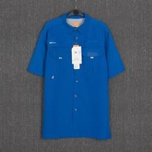 Летние мужские рубашки для рыбалки с коротким рукавом, мужские быстросохнущие рубашки для туризма UPF40+ УФ дышащая рубашка, большие размеры США