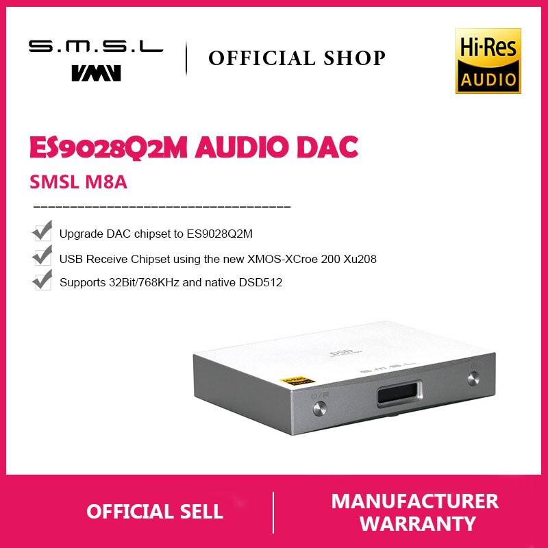 Nouveau SMSL M8A Native DSD512 HIFI Décodeur Soutien DOP DAC ES9038 PCM768kHz Micro USB Amplificateur Optique Coaxial Entrée RCA Sortie