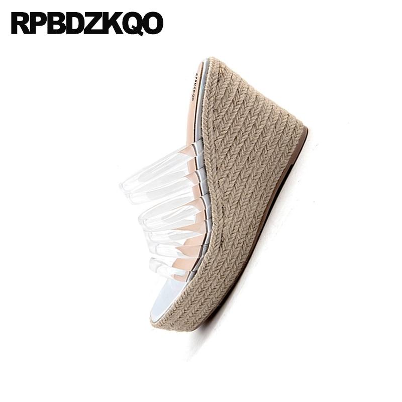 Pumps Slip On Transparent Strap Open Toe Women Fashion Designer Espadrilles 2018 Shoes Platform Wedge Sandals Summer Rope Pvc - 5