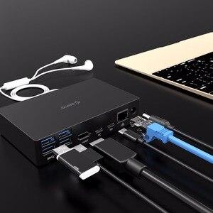 Image 4 - オリコ usb ハブタイプ c ユニバーサルドッキングステーション 6 USB3.0 A ポートとタイプ c pd dc 12 v RJ45 hdmi 4 18k ハイエンド拡張ドック