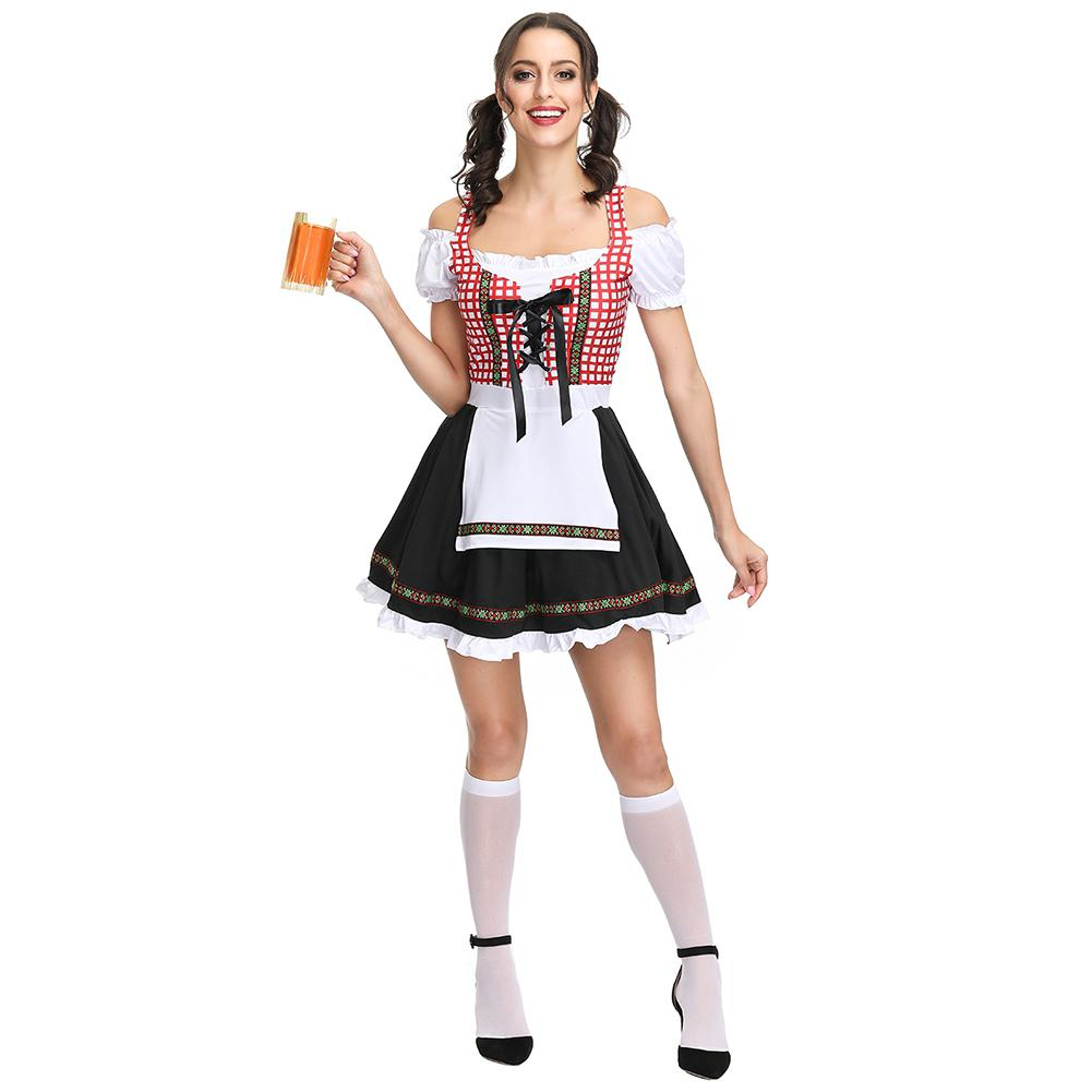 ZACOO Women Oktoberfest Style Fashion Maid Dress Costume Beer Festival Dress Suit
