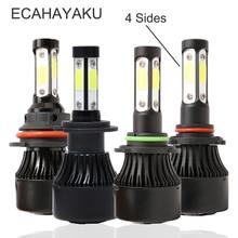 ECAHAYAKU 4 Sides Luminous H4 H11 H7 9005 9006 9007 Car LED Headlight Bulbs X7 72W 16000lm Headlamp COB Chips Auto Led Bulb 12v