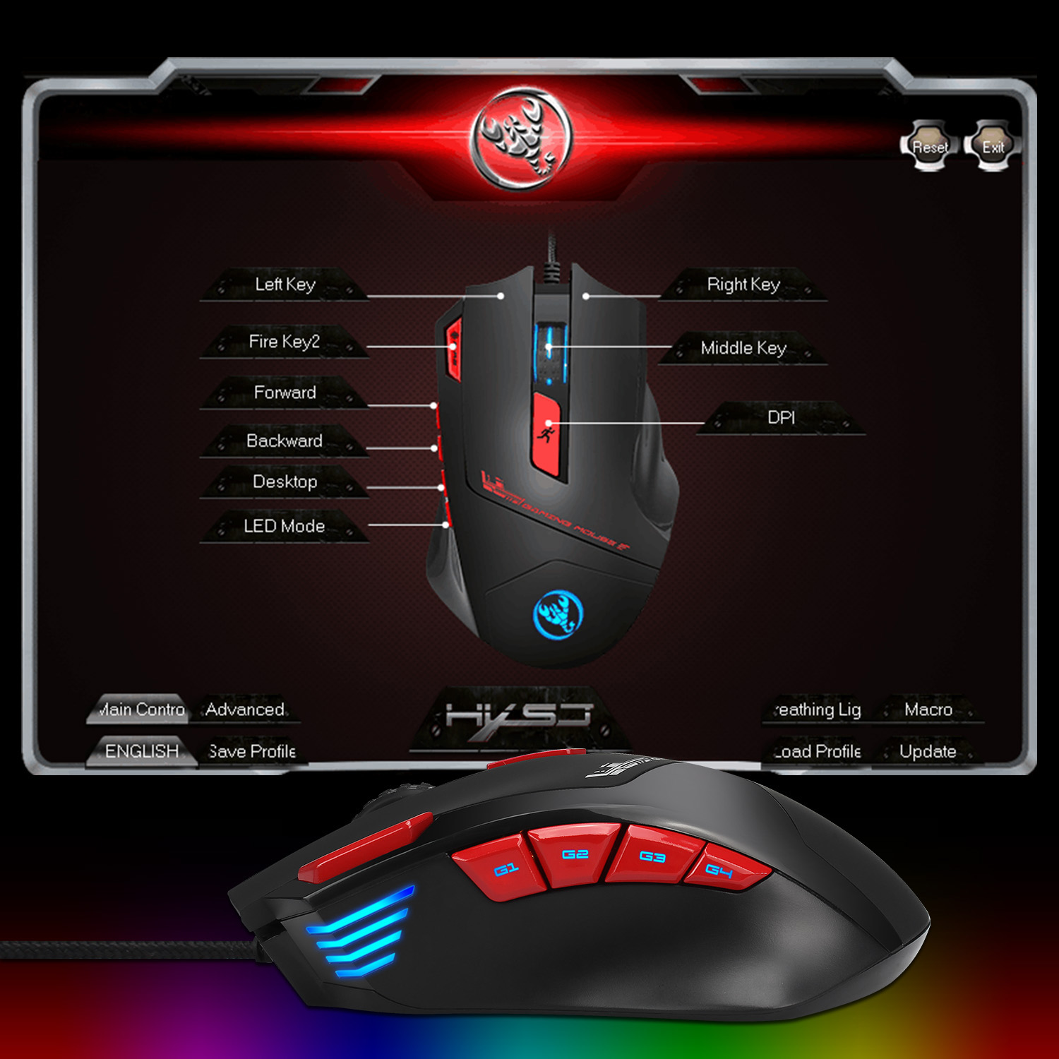 HXSJ USB Wired Gaming Mouse 9 Buttons 6000DPI Optical Macros set the drive  Backlit Mice For computer laptop game PUBG LOL