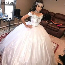 Ball-Gown Prom-Dress Quinceanera-Dresses Sequins Tulle White Sweet 15 Two-Pieces Beads