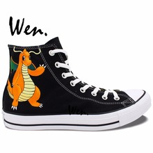 Wen Hand Painted Black Canvas Shoes Custom Design Pokemon Dragonite Women Men's Anime High Top Canvas Shoes Christmas Gifts