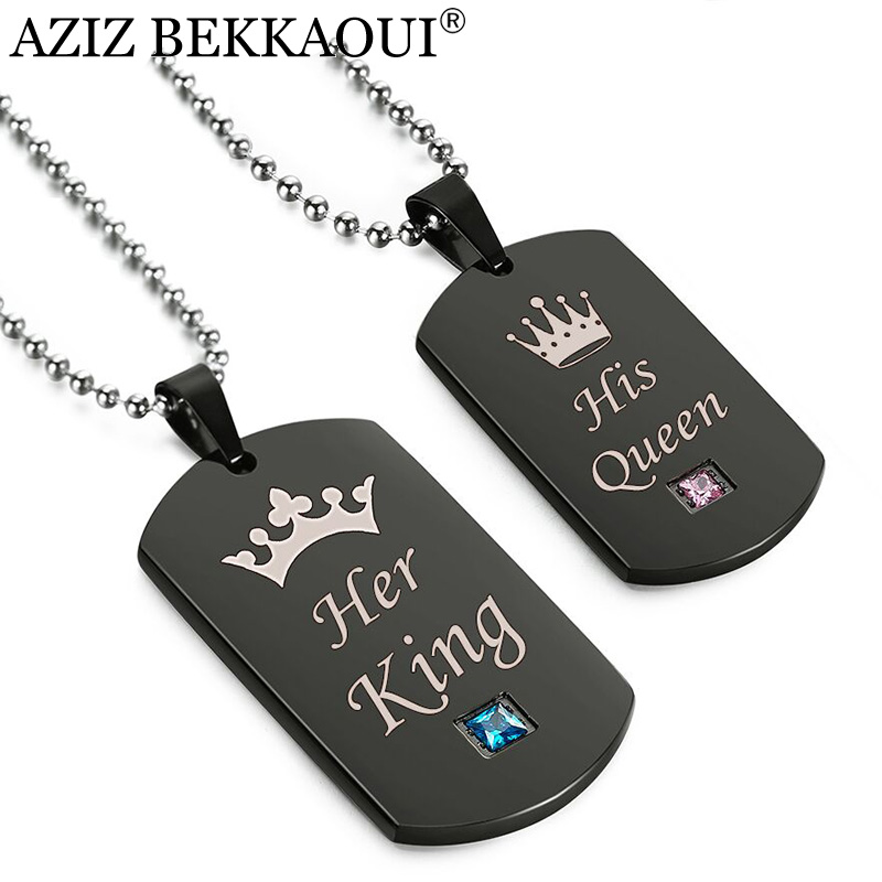 AZIZ BEKKAOUI Black Stainless Steel Couple Necklaces Her King His Queen Crown Tag Pendant Necklace with