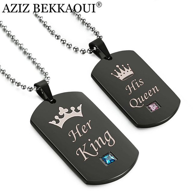 AZIZ BEKKAOUI Black Stainless Steel Couple Necklaces Her King & His Queen Crown