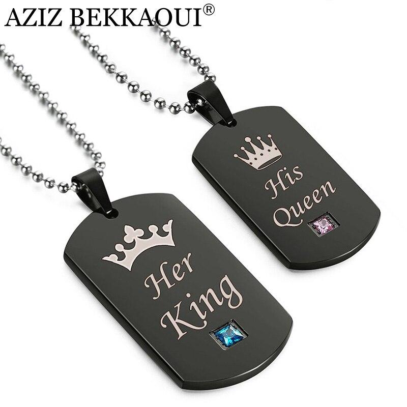 AZIZ BEKKAOUI Schwarz Edelstahl Paar Halsketten Ihr König & Seine Königin Crown Tag Anhänger Halskette mit Stein Dropshipping