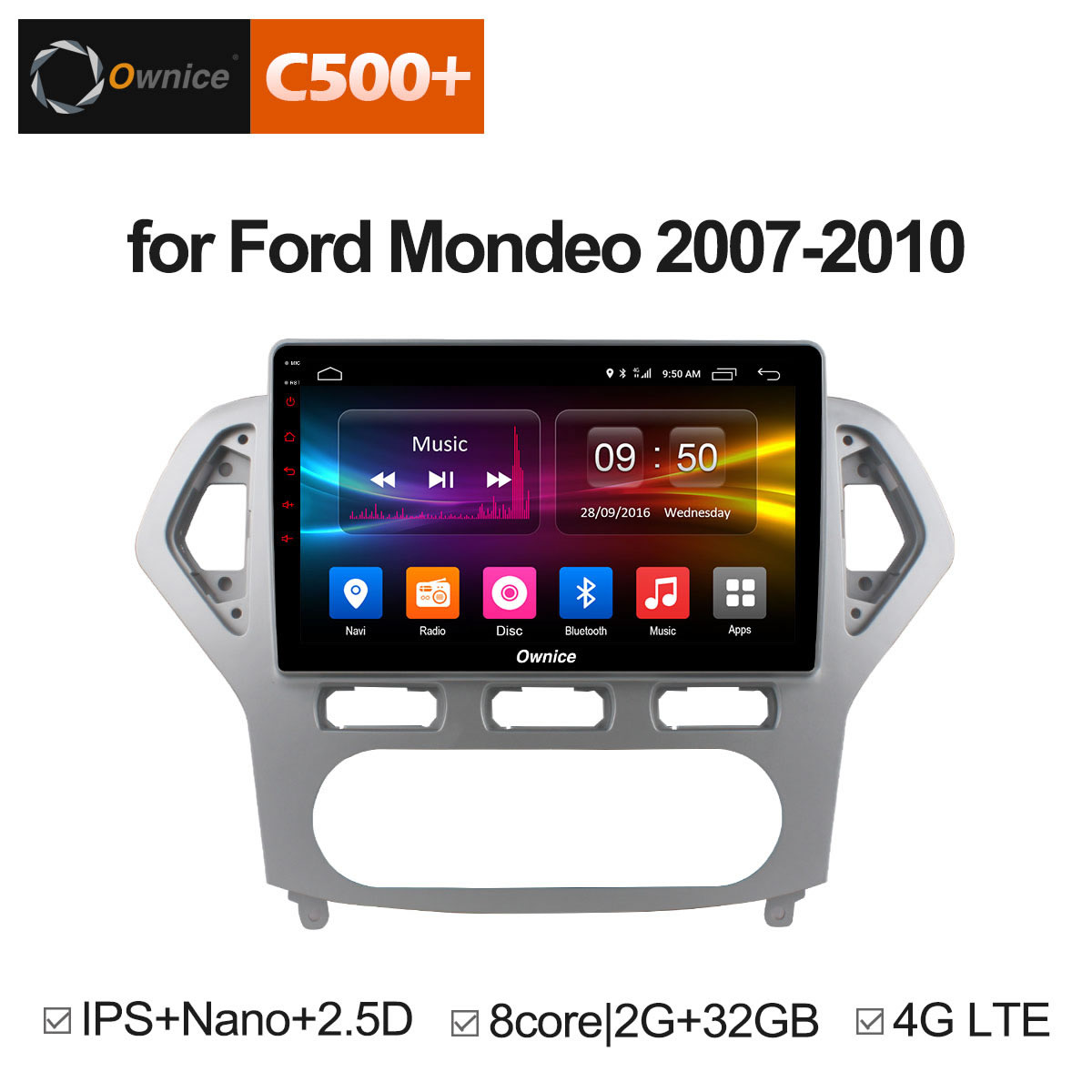Ownice 10.1 C500+ G10 2.5D Android 8.1 Octa Core Car DVD GPS Navigation Radio Player for Ford Mondeo 2007 - 2010 ROM 32G 4G LTE ownice c500 4g sim lte octa 8 core android 6 0 for kia ceed 2013 2015 car dvd player gps navi radio wifi 4g bt 2gb ram 32g rom