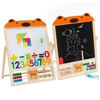 2 IN 1 KIDS Wooden Blackboard Easel Stand Learning Board Vinyl Draw Chalkboard Whiteboard With Wooden