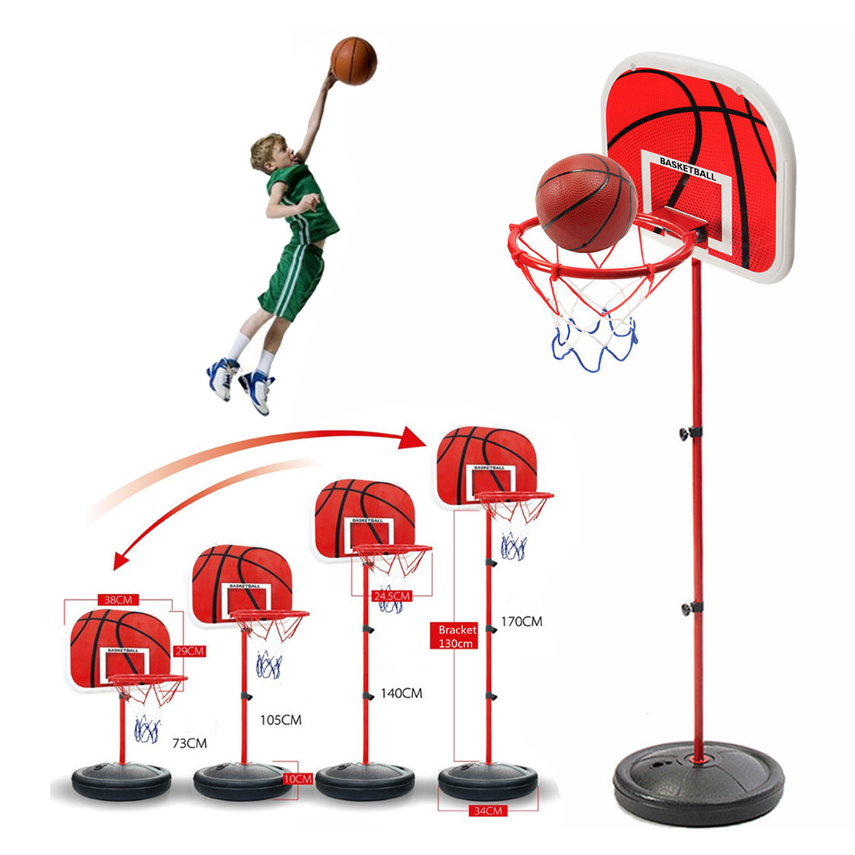 Adjustable Height Kids Children Toy Mini Basketball Stand Back Board And Hoop With Ball & Pump Indoor Outdoor Sports hot sale mini basketball hoop with ball 18 inch x12 inch shatterproof backboard