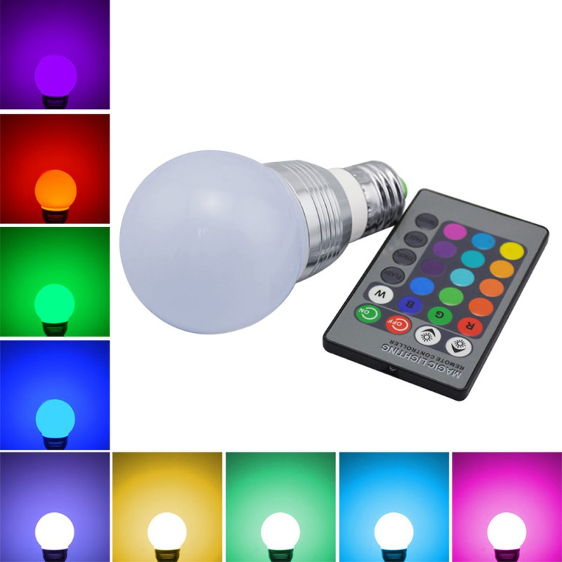 16 Colors Changing RGB LED Nigh light Holiday Decorative Atmosphere lamp E27 5W 85V-265V ...
