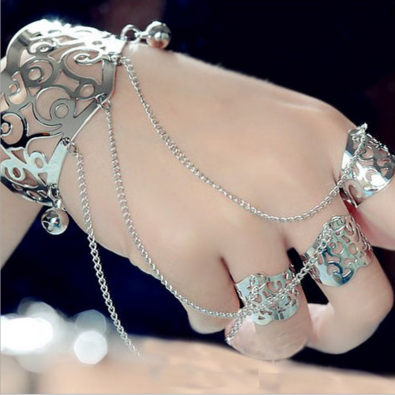 HUMANO FINO 2 Colors Luxurious Fashion Hollow Flowers Bells Bracelets Elegant Multilayer Chain With Fingers Cuff Bangles For Men in Chain Link Bracelets from Jewelry Accessories