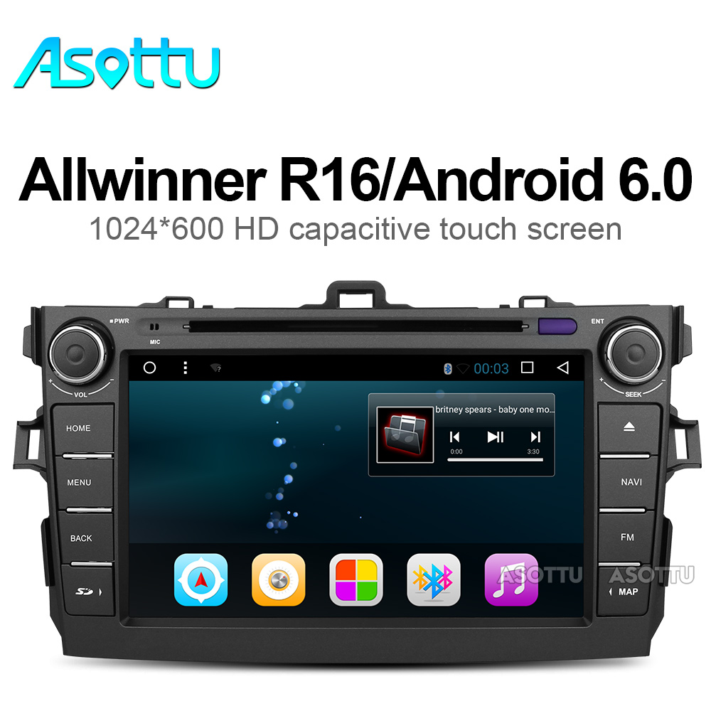 imágenes para Android 4.4 coches reproductor de dvd para Toyota corolla 2007 2008 2009 2010 2011 en el tablero de 2 din 1024*600 dvd del coche de navegación gps en el tablero