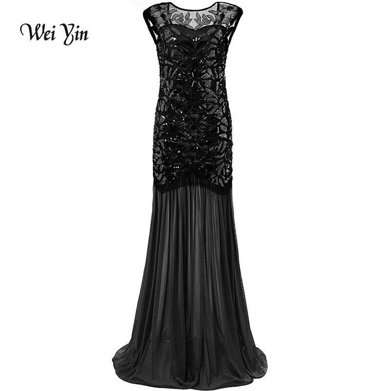 weiyin Vintage 1920'S New Crystal See Through Zipper Long Mermaid   Evening     Dresses   Vestidos de Noche Black Party Prom   Dresses