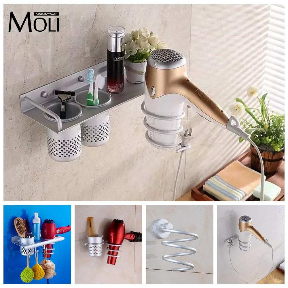MOLIFAUCET Official Store Multi-function Bathroom Hair Dryer Holder Wall Mounted  Rack Space Aluminum Shelf Storage Organizer Hairdryer Holder