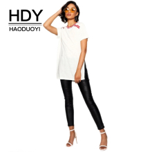 купить HDY Haoduoyi Women Casual O Neck Stripe Bar Print White Tops T Shirt Loose Basic Short Sleeve Split Side Summer Tees дешево