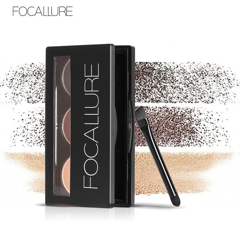 Focallure Sopracciglio Polvere 3 Colori Eye brow Powder Tavolozze Impermeabile e Smudge Proof Con Specchio e Sopracciglio Spazzole All'interno