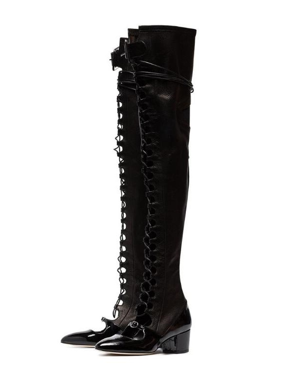 New Designer Black Leather Thigh High Boots Round Toe Lace-up Cut-out Square Heel Ridding Boots Sexy Over Knee Boots Womens New Designer Black Leather Thigh High Boots Round Toe Lace-up Cut-out Square Heel Ridding Boots Sexy Over Knee Boots Womens